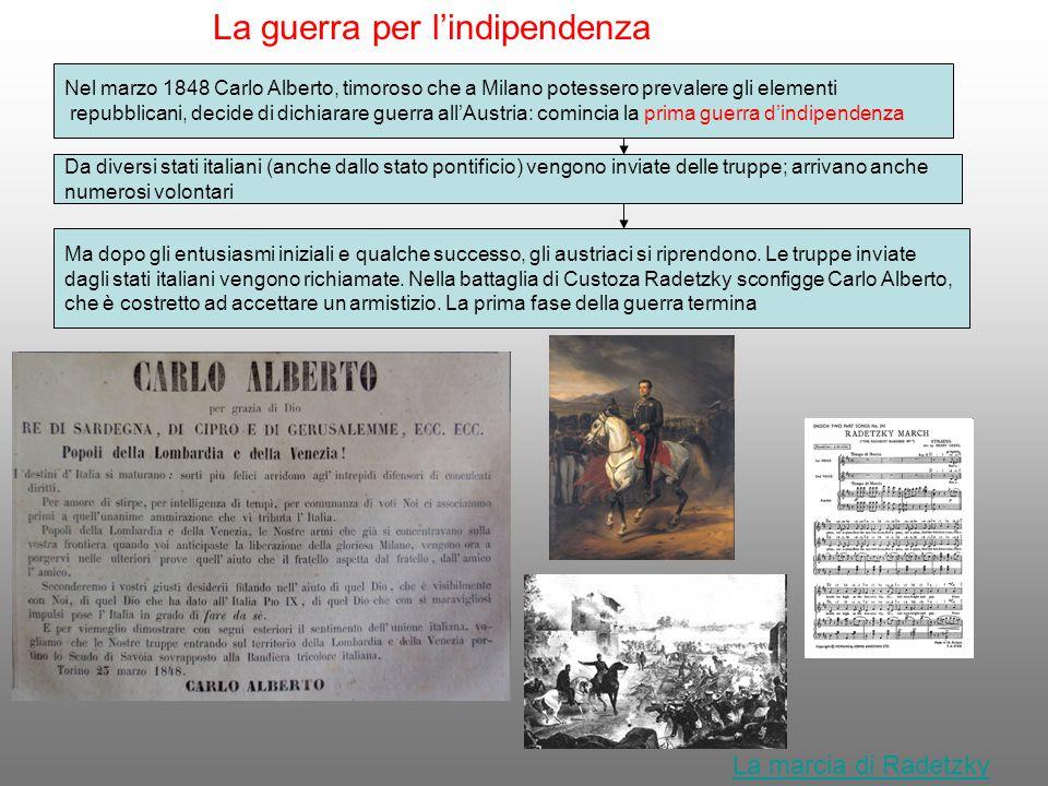 La guerra per l'indipendenza Nel marzo 1848 Carlo Alberto, timoroso che a Milano potessero prevalere gli elementi repubblicani, decide di dichiarare g