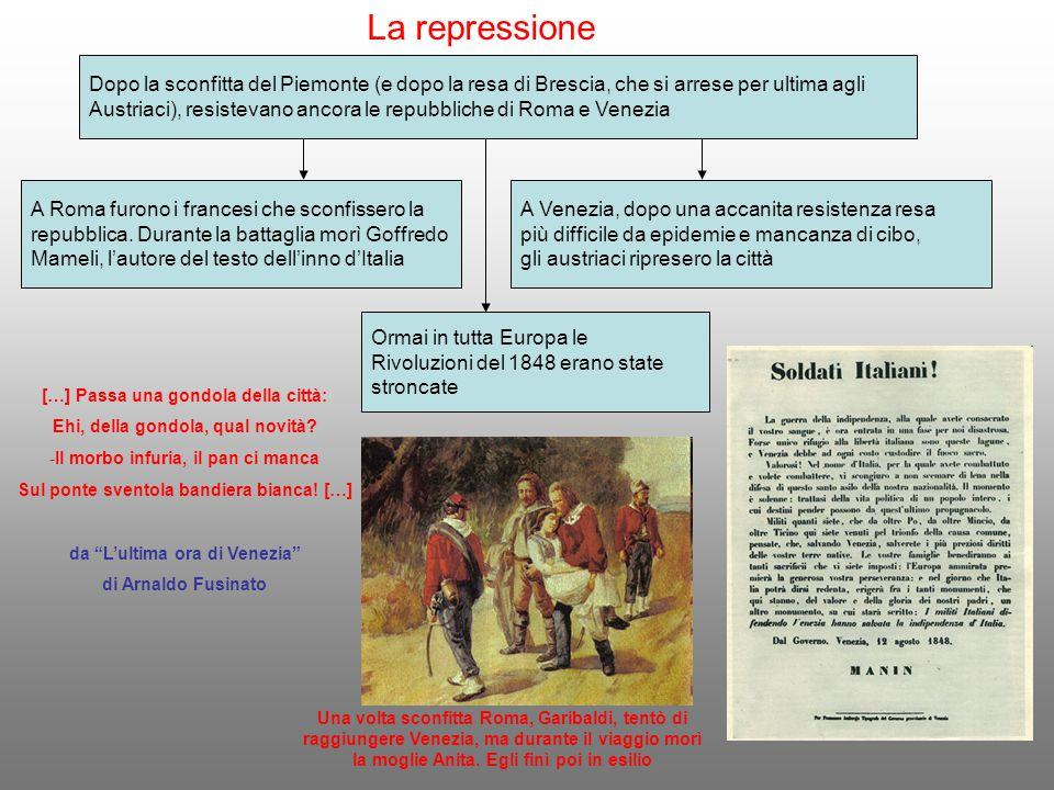 La repressione Dopo la sconfitta del Piemonte (e dopo la resa di Brescia, che si arrese per ultima agli Austriaci), resistevano ancora le repubbliche