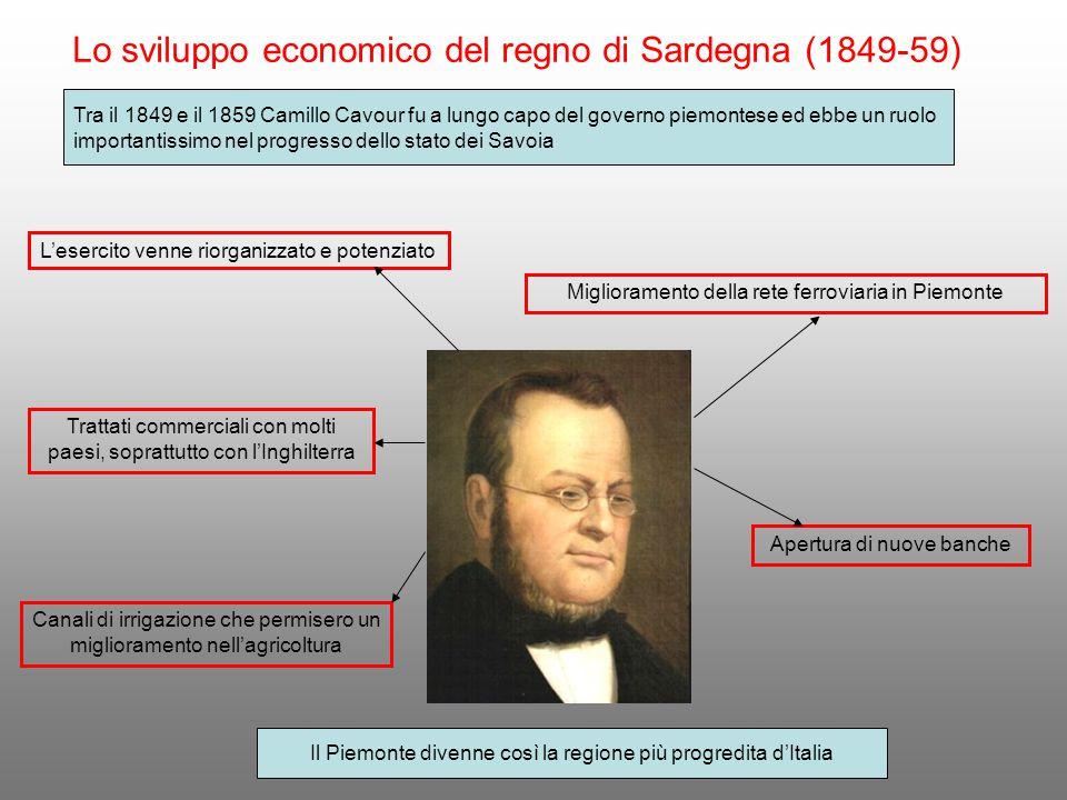 Lo sviluppo economico del regno di Sardegna (1849-59) Tra il 1849 e il 1859 Camillo Cavour fu a lungo capo del governo piemontese ed ebbe un ruolo imp