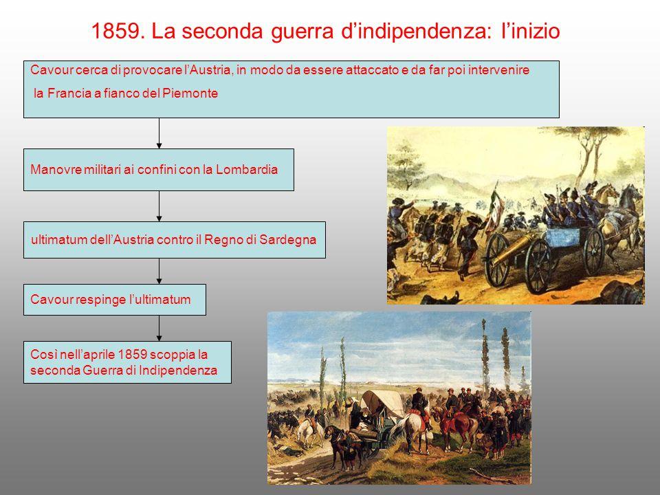 1859. La seconda guerra d'indipendenza: l'inizio Cavour cerca di provocare l'Austria, in modo da essere attaccato e da far poi intervenire la Francia