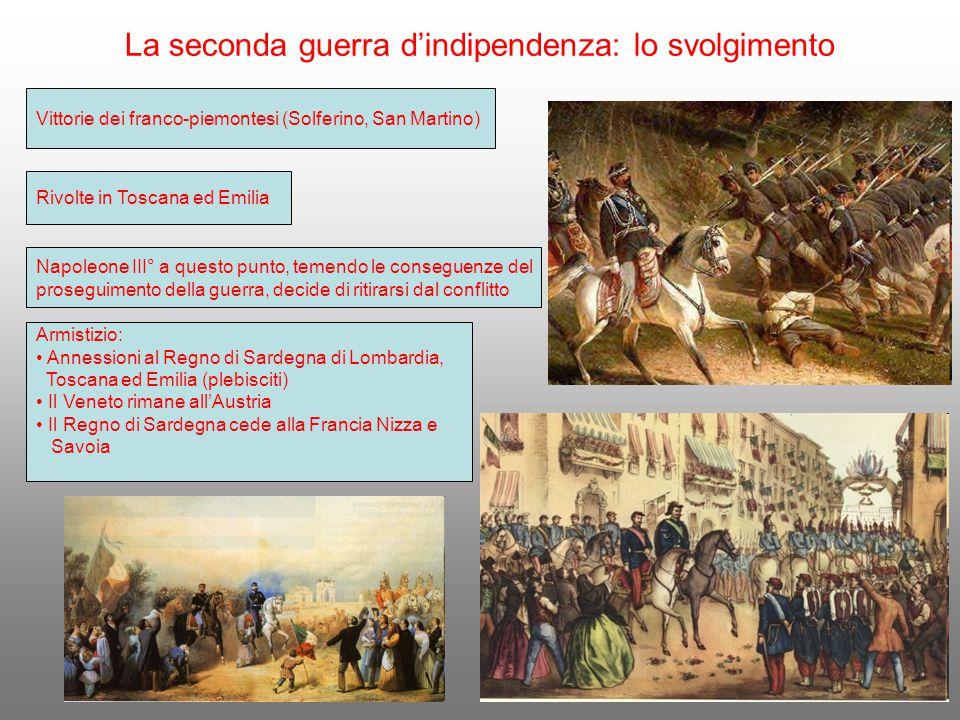 La seconda guerra d'indipendenza: lo svolgimento Vittorie dei franco-piemontesi (Solferino, San Martino) Rivolte in Toscana ed Emilia Napoleone III° a