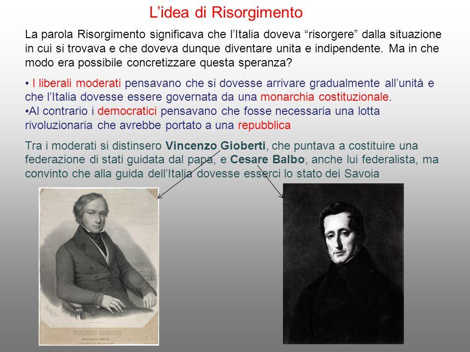 """L'idea di Risorgimento La parola Risorgimento significava che l'Italia doveva """"risorgere"""" dalla situazione in cui si trovava e che doveva dunque diven"""
