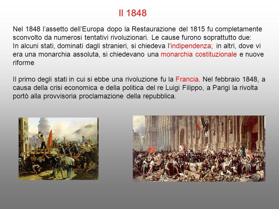 Il 1848 Nel 1848 l'assetto dell'Europa dopo la Restaurazione del 1815 fu completamente sconvolto da numerosi tentativi rivoluzionari. Le cause furono
