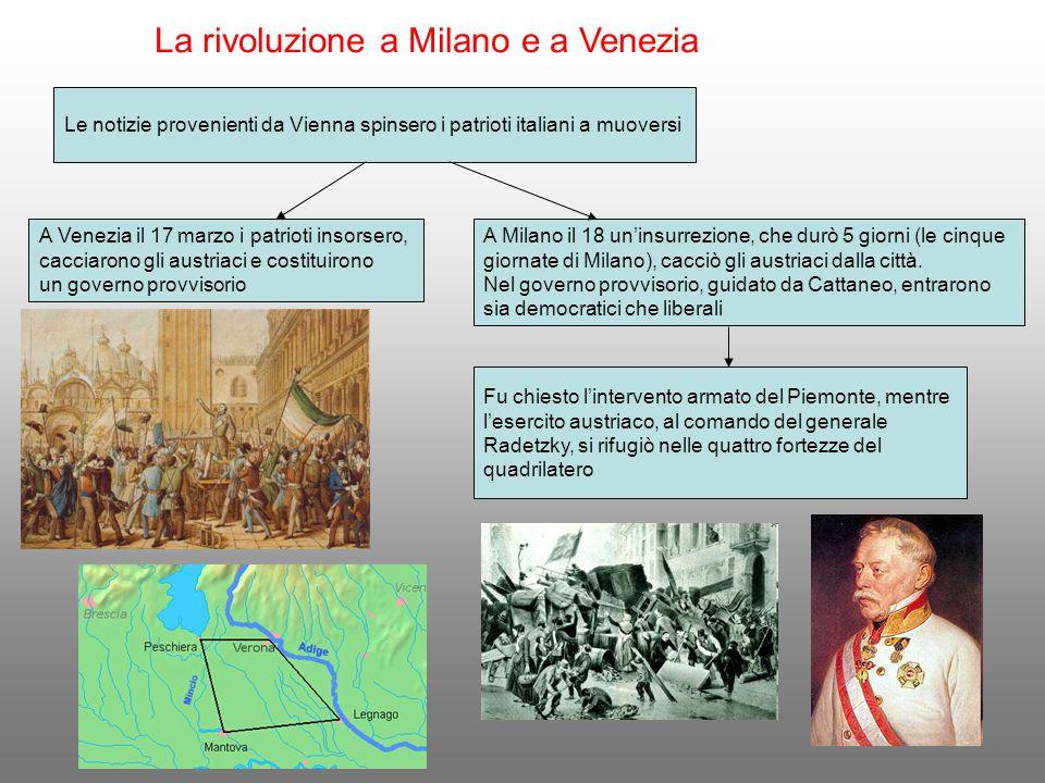 La rivoluzione a Milano e a Venezia Le notizie provenienti da Vienna spinsero i patrioti italiani a muoversi A Venezia il 17 marzo i patrioti insorser