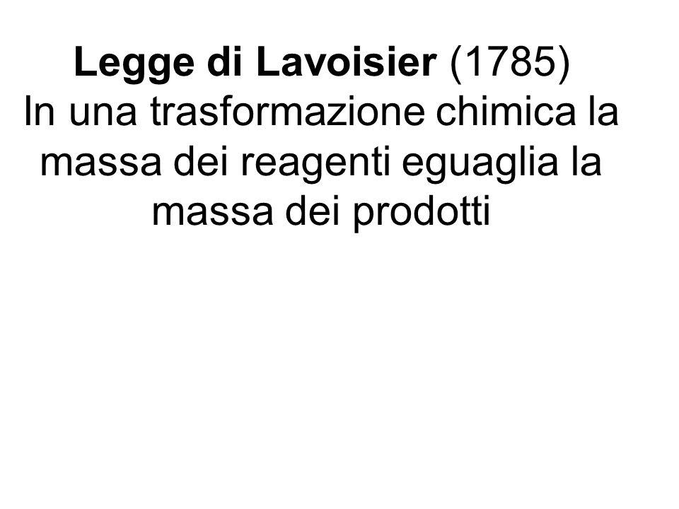 Legge di Lavoisier (1785) In una trasformazione chimica la massa dei reagenti eguaglia la massa dei prodotti
