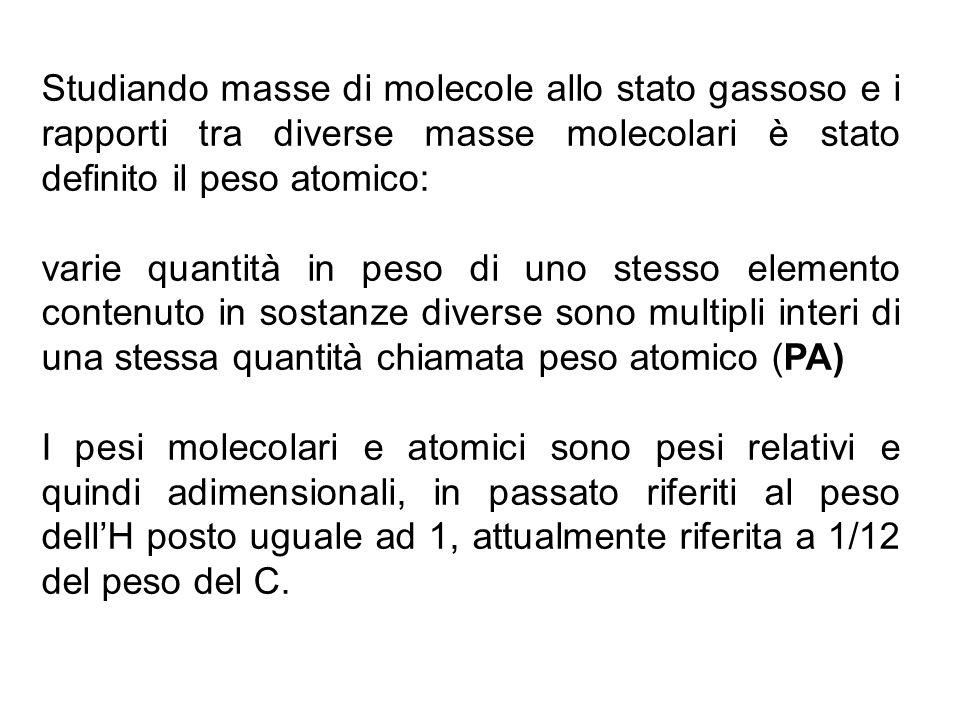 Studiando masse di molecole allo stato gassoso e i rapporti tra diverse masse molecolari è stato definito il peso atomico: varie quantità in peso di u
