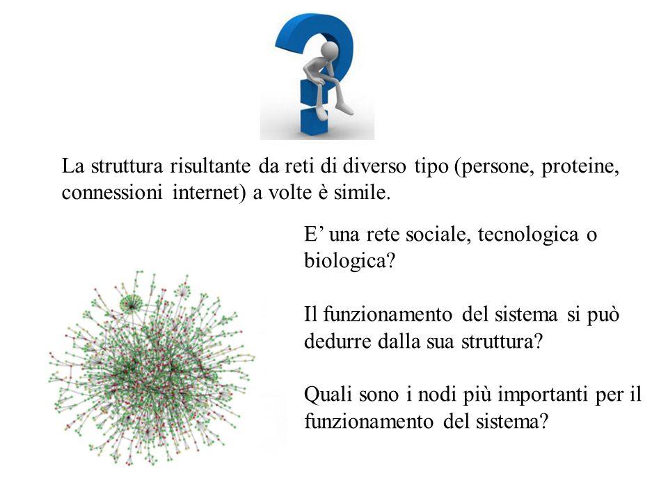 La struttura risultante da reti di diverso tipo (persone, proteine, connessioni internet) a volte è simile. E' una rete sociale, tecnologica o biologi