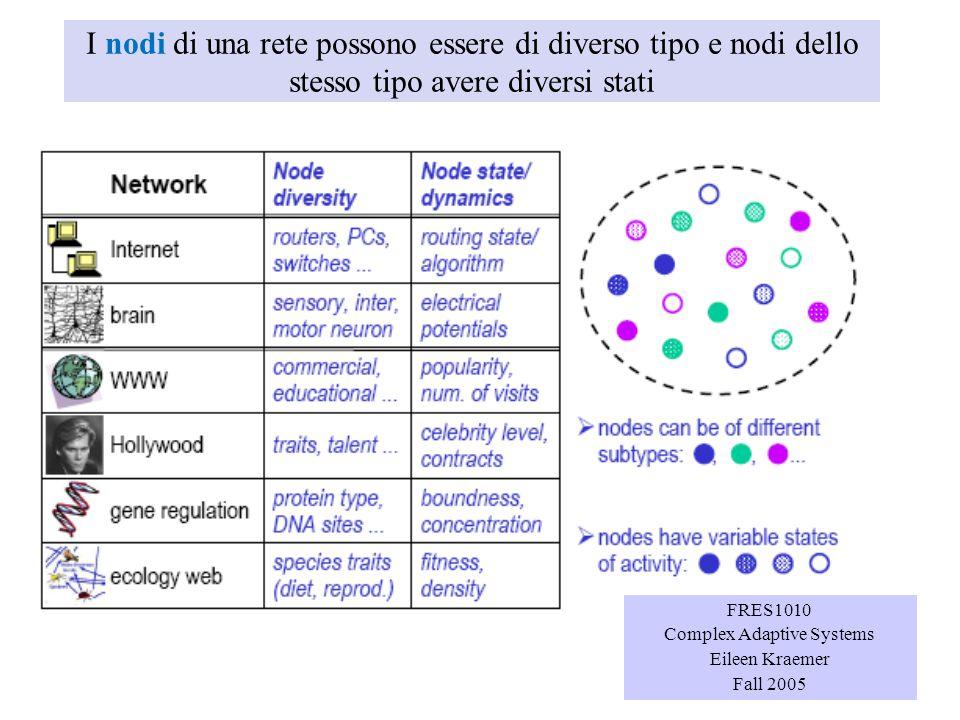 I nodi di una rete possono essere di diverso tipo e nodi dello stesso tipo avere diversi stati FRES1010 Complex Adaptive Systems Eileen Kraemer Fall 2