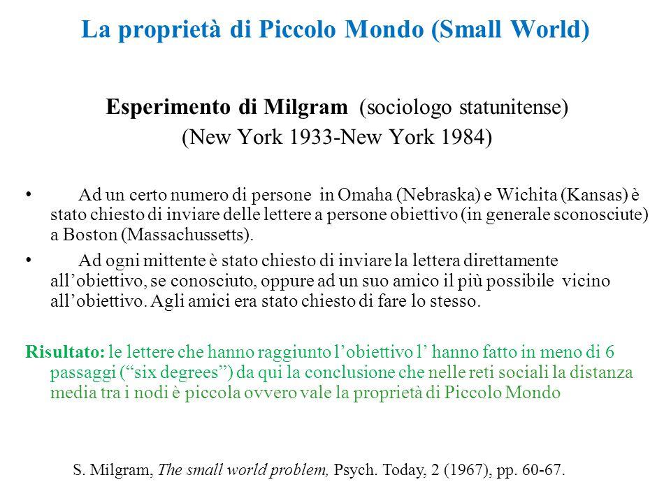 Esperimento di Milgram (sociologo statunitense) (New York 1933-New York 1984) Ad un certo numero di persone in Omaha (Nebraska) e Wichita (Kansas) è s