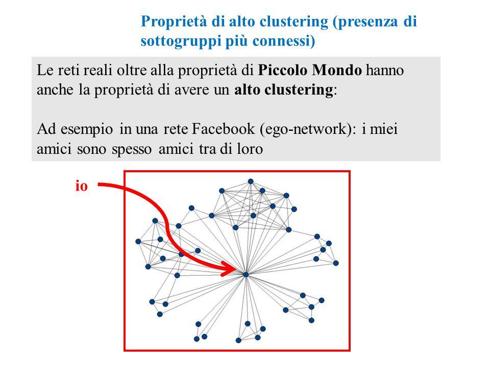 Le reti reali oltre alla proprietà di Piccolo Mondo hanno anche la proprietà di avere un alto clustering: Ad esempio in una rete Facebook (ego-network