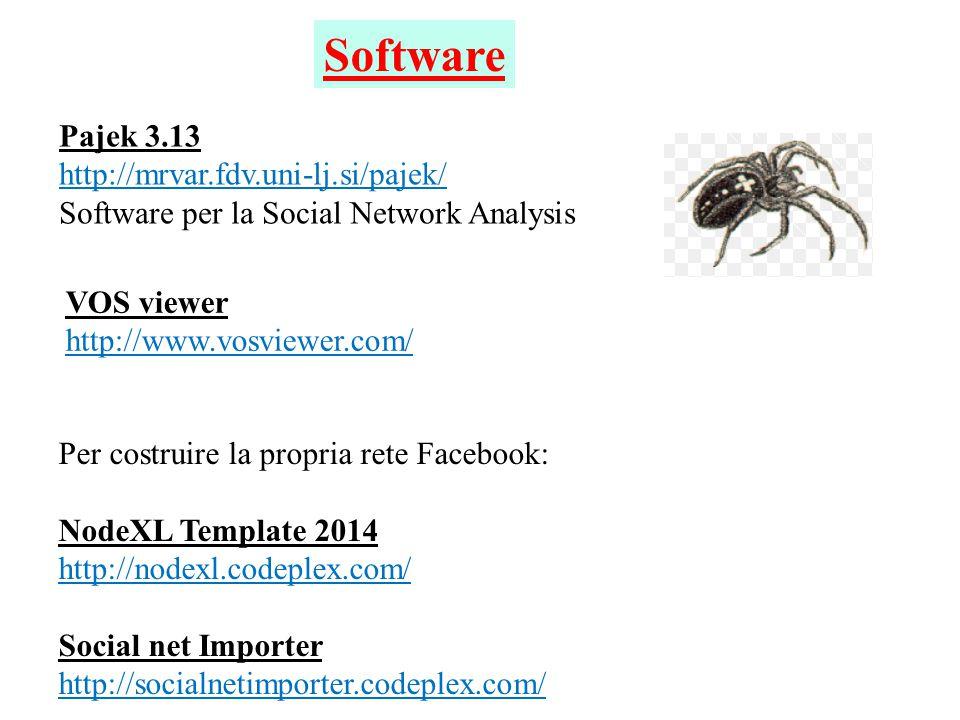 Pajek 3.13 http://mrvar.fdv.uni-lj.si/pajek/ Software per la Social Network Analysis Software Per costruire la propria rete Facebook: NodeXL Template