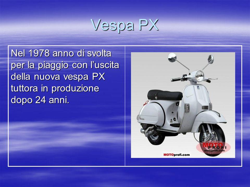 Vespa PX Nel 1978 anno di svolta per la piaggio con l'uscita della nuova vespa PX tuttora in produzione dopo 24 anni.