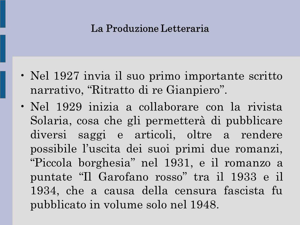 """La Produzione Letteraria Nel 1927 invia il suo primo importante scritto narrativo, """"Ritratto di re Gianpiero"""". Nel 1929 inizia a collaborare con la ri"""