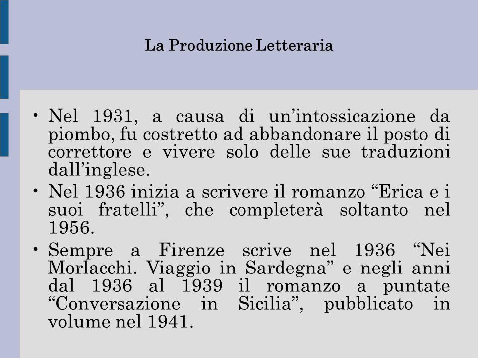 La Produzione Letteraria Nel 1931, a causa di un'intossicazione da piombo, fu costretto ad abbandonare il posto di correttore e vivere solo delle sue