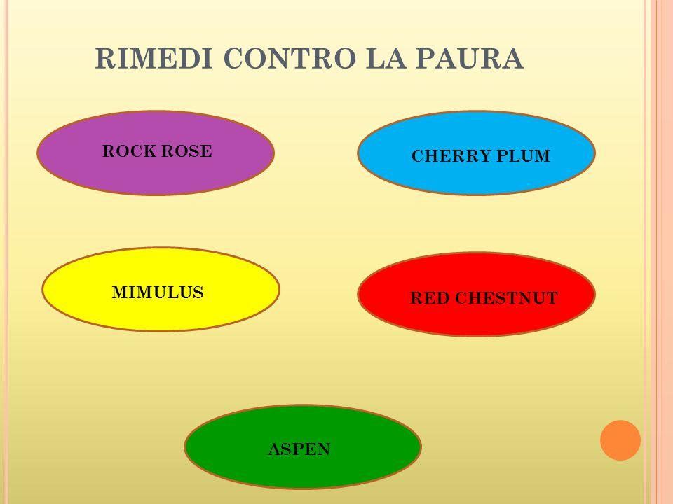RIMEDI CONTRO LA PAURA ROCK ROSE MIMULUS ASPEN CHERRY PLUM RED CHESTNUT