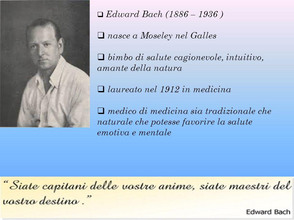  Edward Bach (1886 – 1936 )  nasce a Moseley nel Galles  bimbo di salute cagionevole, intuitivo, amante della natura  laureato nel 1912 in medicin