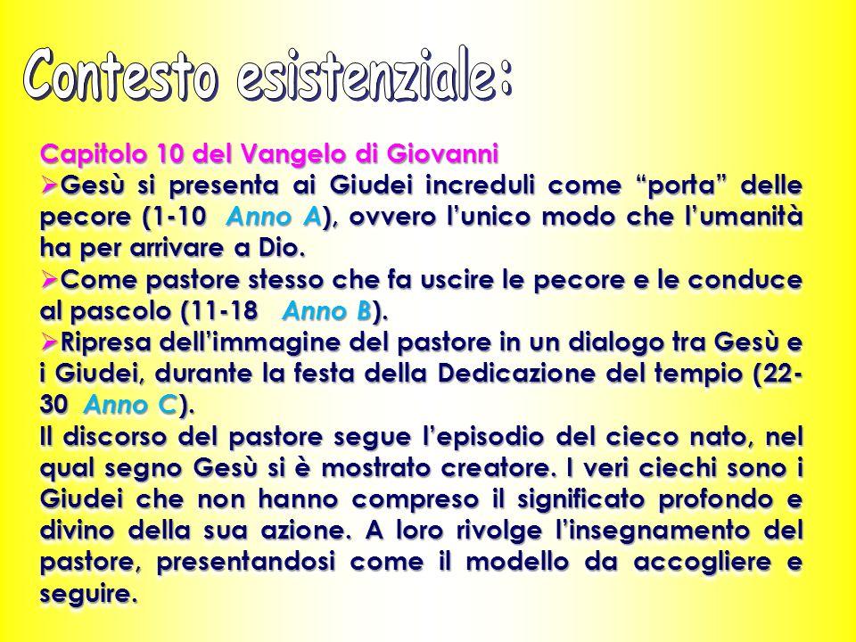 Capitolo 10 del Vangelo di Giovanni  Gesù si presenta ai Giudei increduli come porta delle pecore (1-10 Anno A ), ovvero l'unico modo che l'umanità ha per arrivare a Dio.
