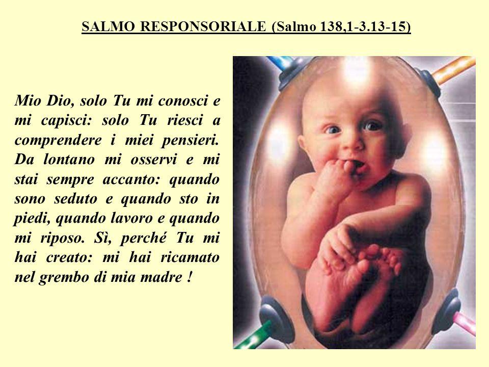 SALMO RESPONSORIALE (Salmo 138,1-3.13-15) Mio Dio, solo Tu mi conosci e mi capisci: solo Tu riesci a comprendere i miei pensieri.