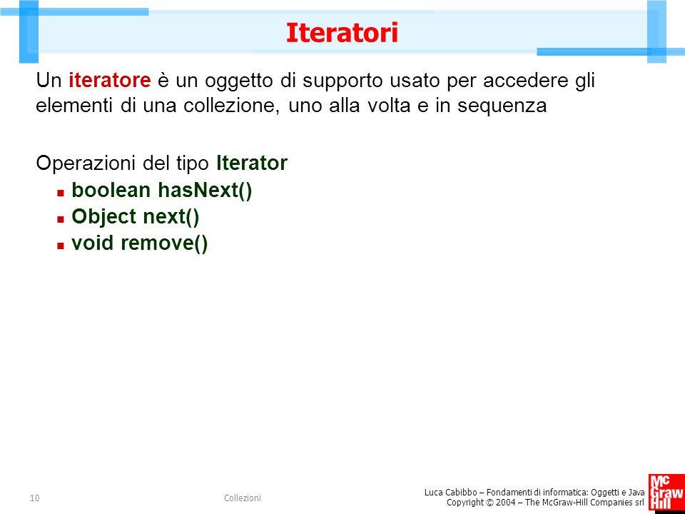 Luca Cabibbo – Fondamenti di informatica: Oggetti e Java Copyright © 2004 – The McGraw-Hill Companies srl Collezioni10 Iteratori Un iteratore è un ogg
