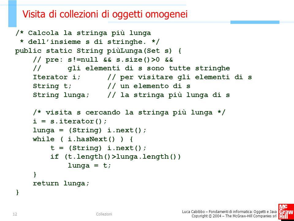 Luca Cabibbo – Fondamenti di informatica: Oggetti e Java Copyright © 2004 – The McGraw-Hill Companies srl Collezioni12 Visita di collezioni di oggetti