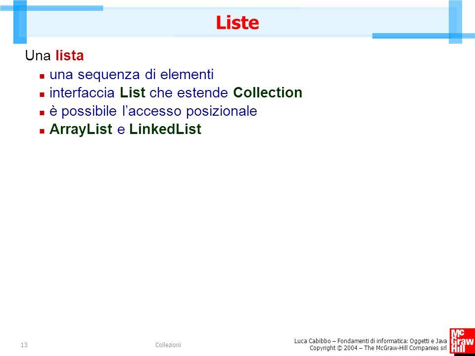 Luca Cabibbo – Fondamenti di informatica: Oggetti e Java Copyright © 2004 – The McGraw-Hill Companies srl Collezioni13 Liste Una lista una sequenza di