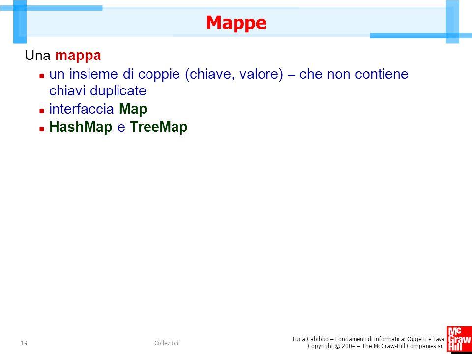 Luca Cabibbo – Fondamenti di informatica: Oggetti e Java Copyright © 2004 – The McGraw-Hill Companies srl Collezioni19 Mappe Una mappa un insieme di coppie (chiave, valore) – che non contiene chiavi duplicate interfaccia Map HashMap e TreeMap
