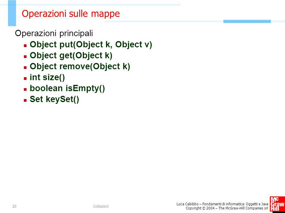 Luca Cabibbo – Fondamenti di informatica: Oggetti e Java Copyright © 2004 – The McGraw-Hill Companies srl Collezioni20 Operazioni sulle mappe Operazioni principali Object put(Object k, Object v) Object get(Object k) Object remove(Object k) int size() boolean isEmpty() Set keySet()