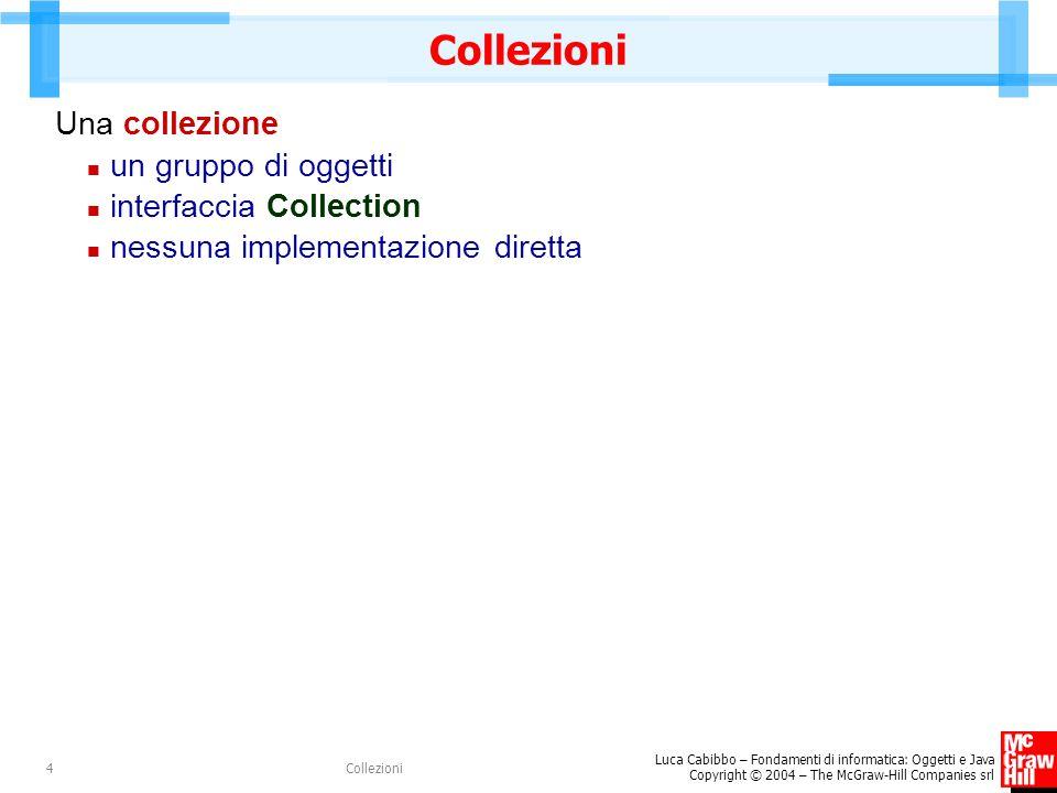 Luca Cabibbo – Fondamenti di informatica: Oggetti e Java Copyright © 2004 – The McGraw-Hill Companies srl Collezioni4 Una collezione un gruppo di ogge