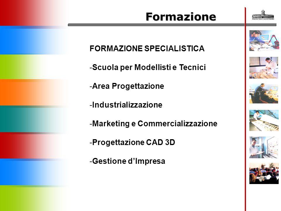 Formazione FORMAZIONE SPECIALISTICA -Scuola per Modellisti e Tecnici -Area Progettazione -Industrializzazione -Marketing e Commercializzazione -Proget