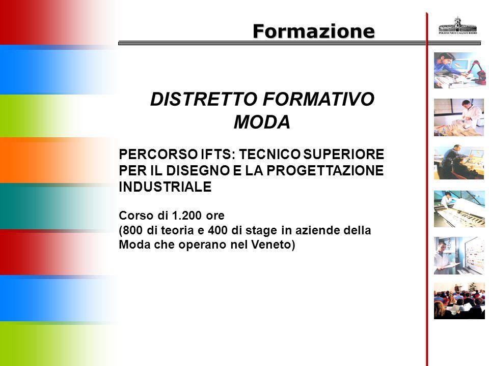 Formazione DISTRETTO FORMATIVO MODA PERCORSO IFTS: TECNICO SUPERIORE PER IL DISEGNO E LA PROGETTAZIONE INDUSTRIALE Corso di 1.200 ore (800 di teoria e