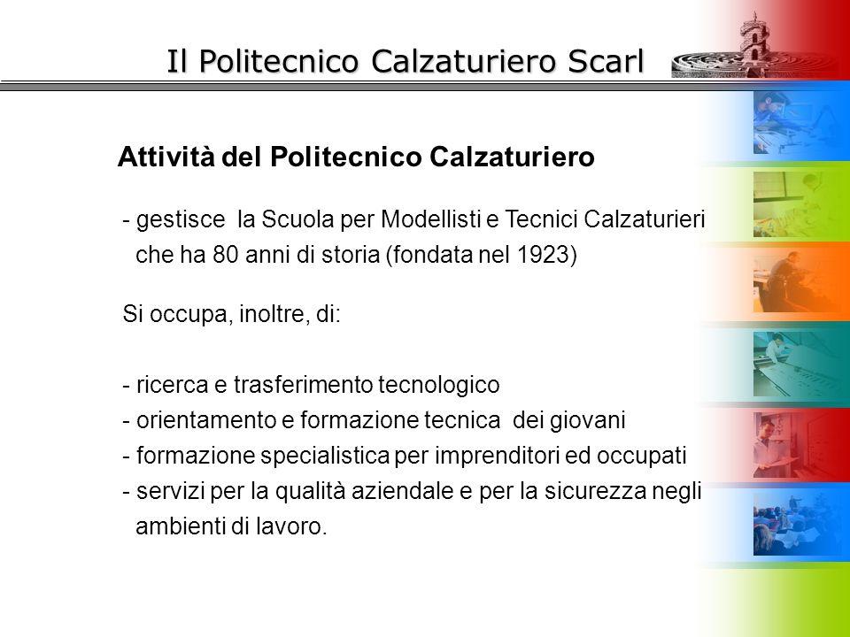 Il Politecnico Calzaturiero Scarl Attività del Politecnico Calzaturiero - gestisce la Scuola per Modellisti e Tecnici Calzaturieri che ha 80 anni di s