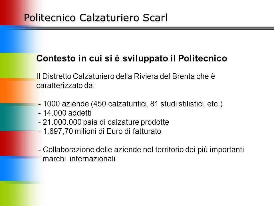 Politecnico Calzaturiero Scarl Contesto in cui si è sviluppato il Politecnico Il Distretto Calzaturiero della Riviera del Brenta che è caratterizzato