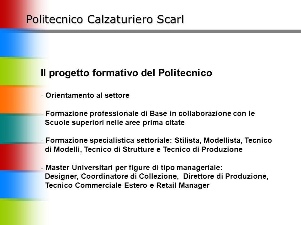 Politecnico Calzaturiero Scarl Il progetto formativo del Politecnico - Orientamento al settore - Formazione professionale di Base in collaborazione co