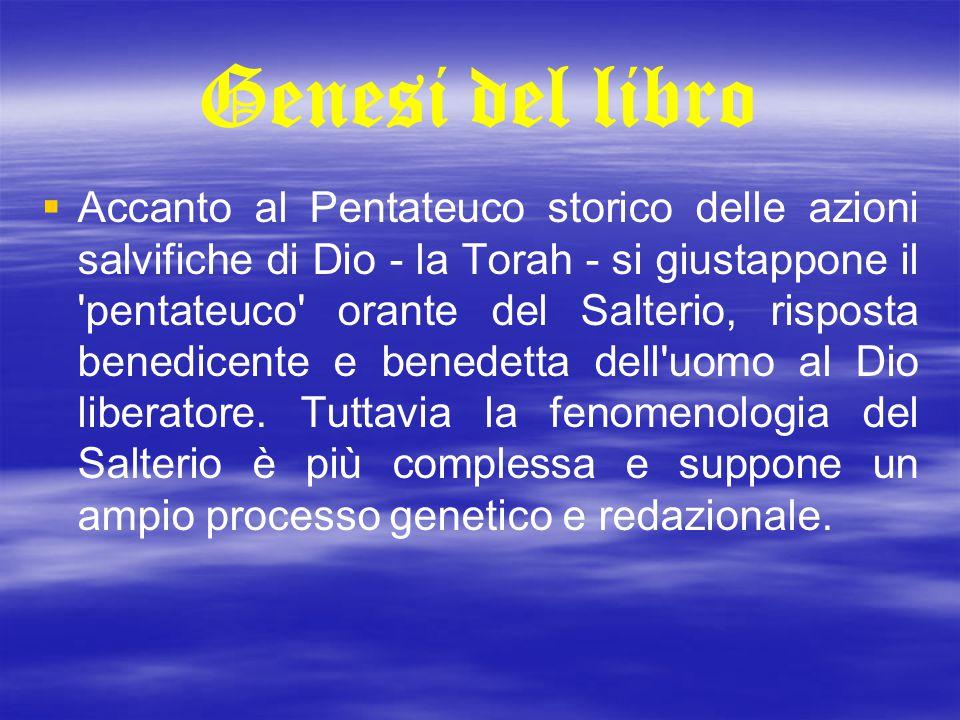 Genesi del libro   Accanto al Pentateuco storico delle azioni salvifiche di Dio - la Torah - si giustappone il 'pentateuco' orante del Salterio, ris