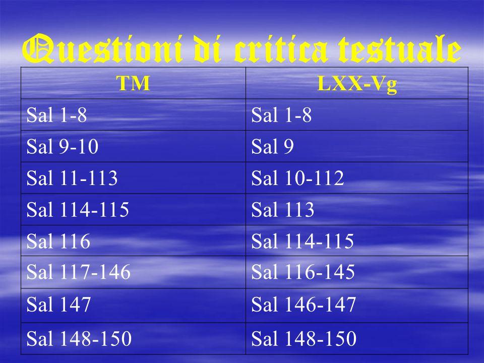 Questioni di critica testuale TMLXX-Vg Sal 1-8 Sal 9-10Sal 9 Sal 11-113Sal 10-112 Sal 114-115Sal 113 Sal 116Sal 114-115 Sal 117-146Sal 116-145 Sal 147
