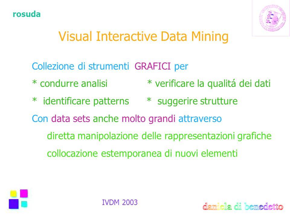 rosuda IVDM 2003 Visual Interactive Data Mining Collezione di strumenti GRAFICI per * condurre analisi * verificare la qualitá dei dati * identificare patterns * suggerire strutture Con data sets anche molto grandi attraverso diretta manipolazione delle rappresentazioni grafiche collocazione estemporanea di nuovi elementi