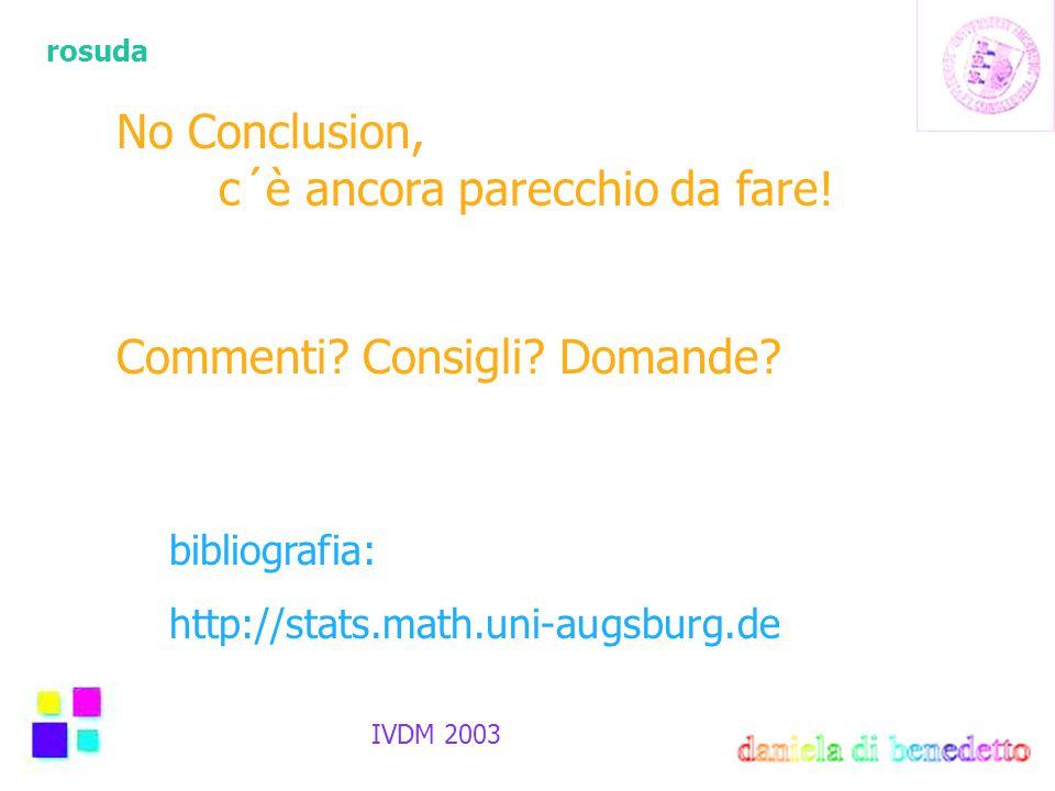 rosuda IVDM 2003 No Conclusion, c´è ancora parecchio da fare! Commenti? Consigli? Domande? bibliografia: http://stats.math.uni-augsburg.de