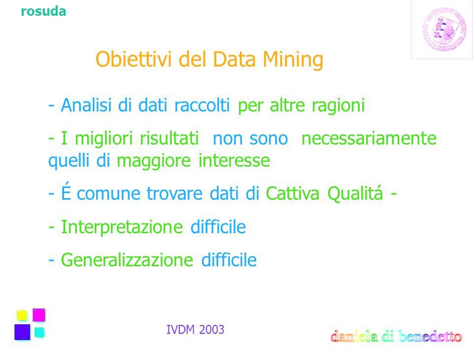 rosuda IVDM 2003 Obiettivi del Data Mining - Analisi di dati raccolti per altre ragioni - I migliori risultati non sono necessariamente quelli di maggiore interesse - É comune trovare dati di Cattiva Qualitá - - Interpretazione difficile - Generalizzazione difficile