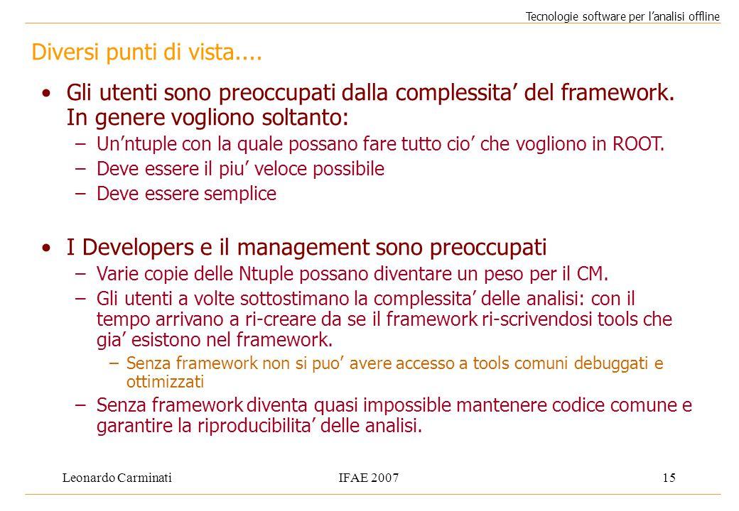 Leonardo CarminatiIFAE 200715 Diversi punti di vista.... Tecnologie software per l'analisi offline Gli utenti sono preoccupati dalla complessita' del