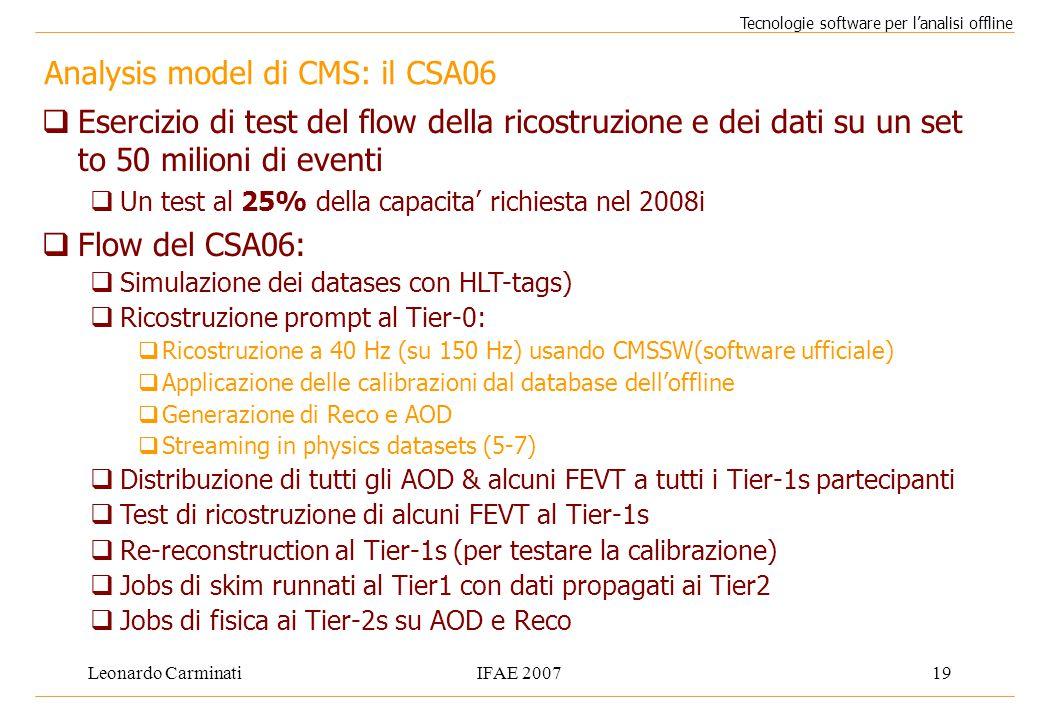 Leonardo CarminatiIFAE 200719 Analysis model di CMS: il CSA06 Tecnologie software per l'analisi offline  Esercizio di test del flow della ricostruzione e dei dati su un set to 50 milioni di eventi  Un test al 25% della capacita' richiesta nel 2008i  Flow del CSA06:  Simulazione dei datases con HLT-tags)  Ricostruzione prompt al Tier-0:  Ricostruzione a 40 Hz (su 150 Hz) usando CMSSW(software ufficiale)  Applicazione delle calibrazioni dal database dell'offline  Generazione di Reco e AOD  Streaming in physics datasets (5-7)  Distribuzione di tutti gli AOD & alcuni FEVT a tutti i Tier-1s partecipanti  Test di ricostruzione di alcuni FEVT al Tier-1s  Re-reconstruction al Tier-1s (per testare la calibrazione)  Jobs di skim runnati al Tier1 con dati propagati ai Tier2  Jobs di fisica ai Tier-2s su AOD e Reco