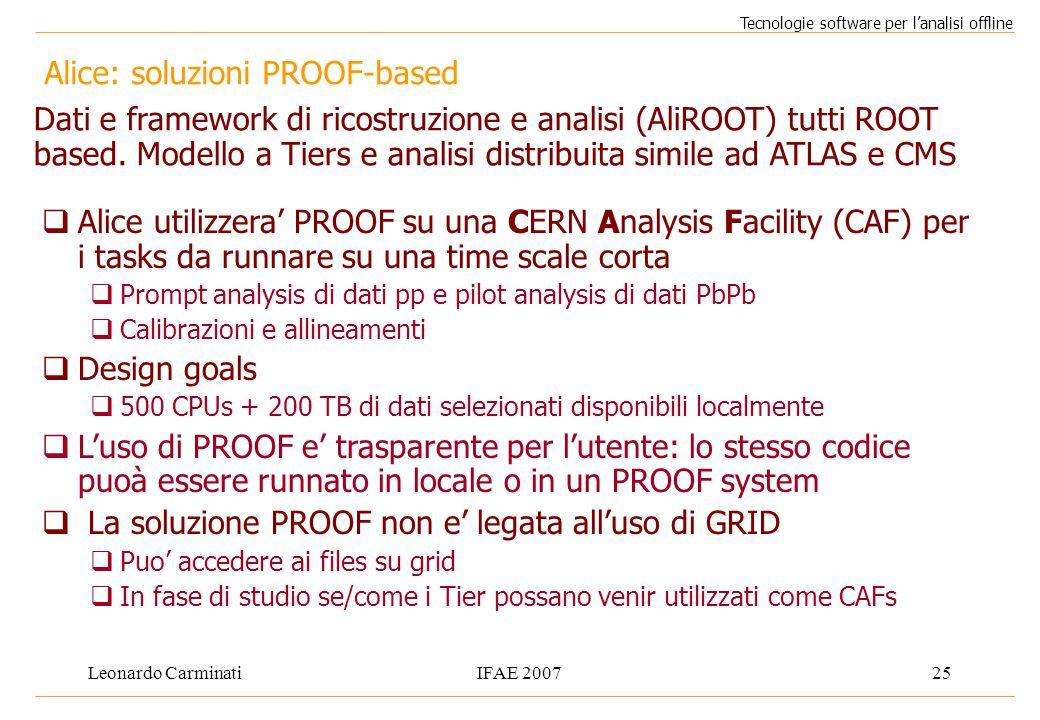 Leonardo CarminatiIFAE 200725 Alice: soluzioni PROOF-based Tecnologie software per l'analisi offline  Alice utilizzera' PROOF su una CERN Analysis Fa