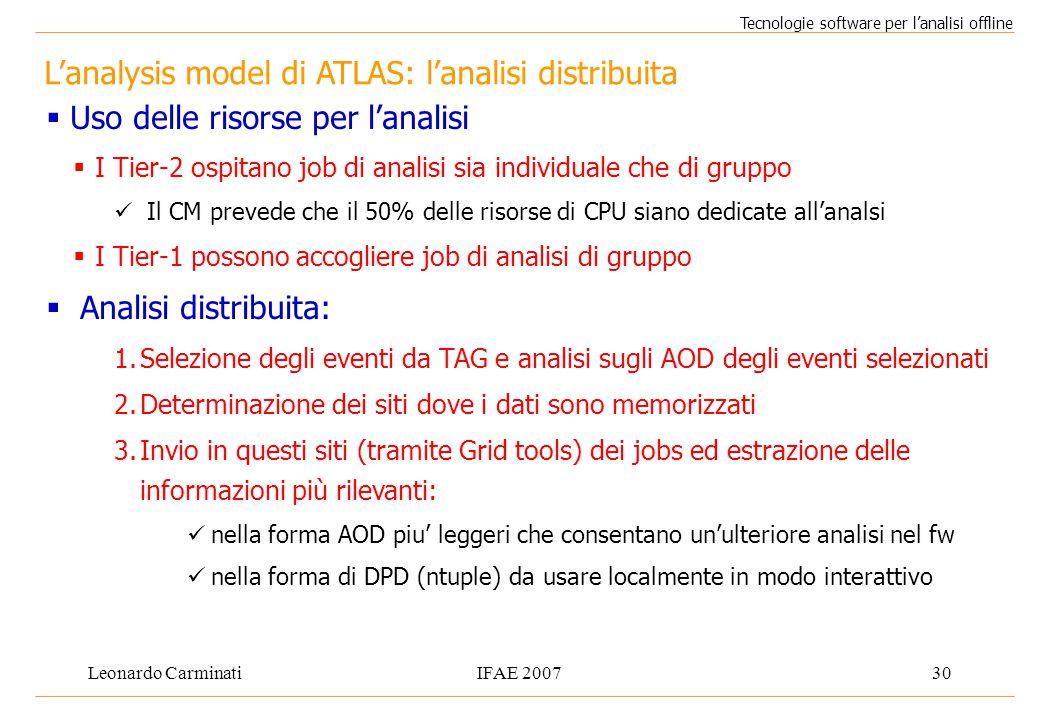 Leonardo CarminatiIFAE 200730 L'analysis model di ATLAS: l'analisi distribuita Tecnologie software per l'analisi offline  Uso delle risorse per l'ana
