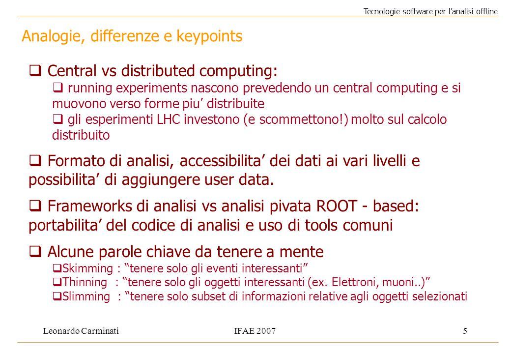 Leonardo CarminatiIFAE 20075 Analogie, differenze e keypoints Tecnologie software per l'analisi offline  Central vs distributed computing:  running