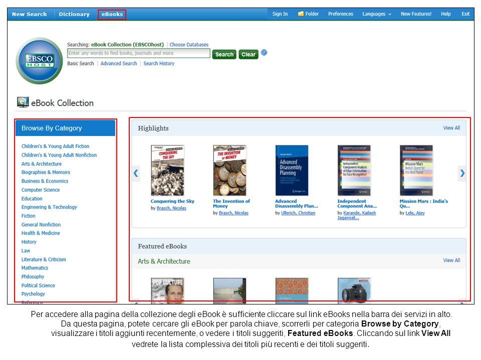 Per accedere alla pagina della collezione degli eBook è sufficiente cliccare sul link eBooks nella barra dei servizi in alto. Da questa pagina, potete