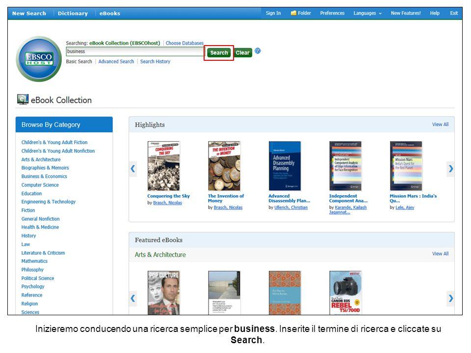Inizieremo conducendo una ricerca semplice per business. Inserite il termine di ricerca e cliccate su Search.