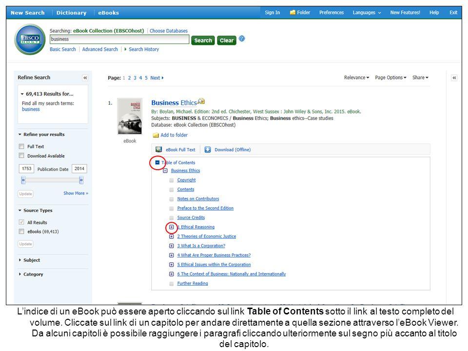 L'indice di un eBook può essere aperto cliccando sul link Table of Contents sotto il link al testo completo del volume.