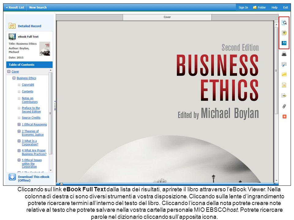 Cliccando sul link eBook Full Text dalla lista dei risultati, aprirete il libro attraverso l'eBook Viewer. Nella colonna di destra ci sono diversi str