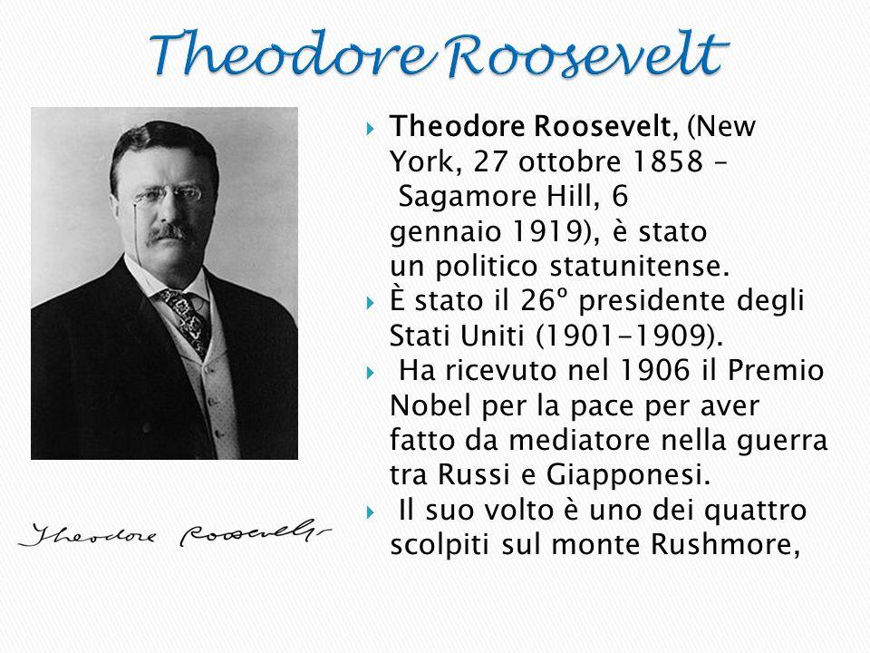  Theodore Roosevelt, (New York, 27 ottobre 1858 – Sagamore Hill, 6 gennaio 1919), è stato un politico statunitense.