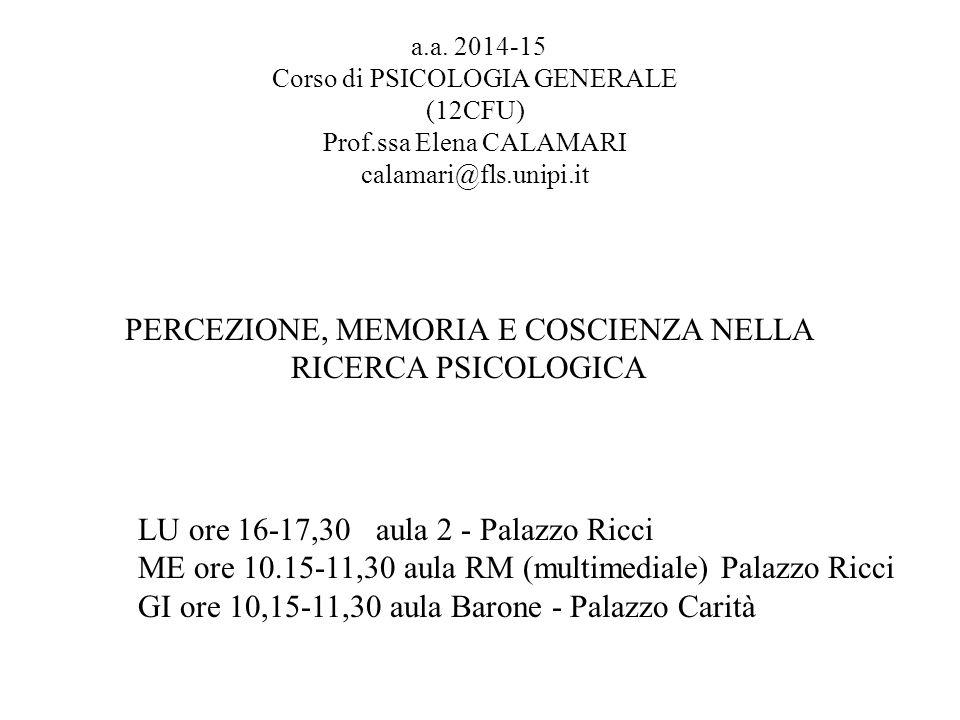 a.a. 2014-15 Corso di PSICOLOGIA GENERALE (12CFU) Prof.ssa Elena CALAMARI calamari@fls.unipi.it PERCEZIONE, MEMORIA E COSCIENZA NELLA RICERCA PSICOLOG