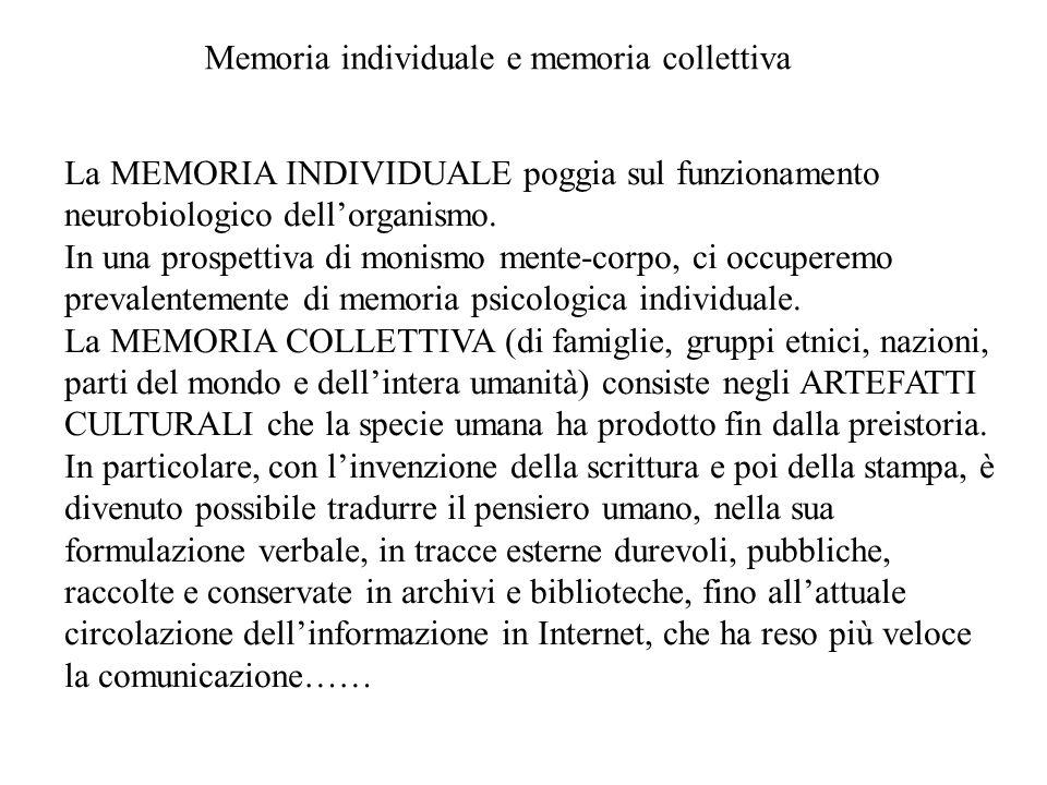 Memoria individuale e memoria collettiva La MEMORIA INDIVIDUALE poggia sul funzionamento neurobiologico dell'organismo. In una prospettiva di monismo